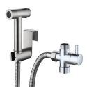 Brushed Stainless Steel Bidet Faucet with Supercharged Spray Gun