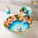 Modern Tempered Glass Sink & Faucet Sets Pastoralism Vessel Sink