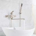 Brushed Stainless Steel Bathtub Faucet Wall Mounted 360 Degree Rotatable Faucet