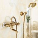 Antique Shower Faucet Wall Mount Handheld Shower Faucet with Oblate Spout
