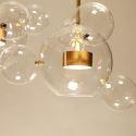 Large Clear Glass Globe Pendant Light LED Gold Ceiling Light