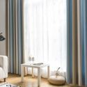Modern Simple Curtain Stripes Jacquard Curtain Imitated Spilcing Blackout Fabric (One Panel)