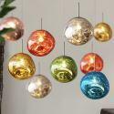 Irregular Lava Colored Glass Globe Pendant Ceiling Light Modern