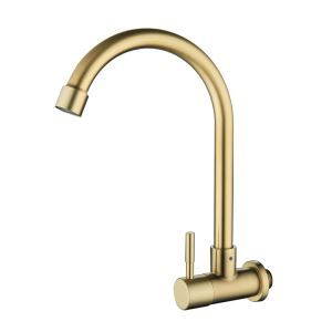 Brushed Gold Kitchen Faucet Wall Mounted Rotatable Stainless Steel Tap