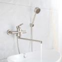 Brushed Stainless Steel Bathtub Faucet Wall Mounted Supercharged Handheld Shower