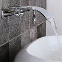 Wall Mount Curved Waterfall Sink Faucet Widespread Bathroom Sink Mixer Tap 2 Handle