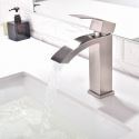 Square Curved Sink Faucet Deck Mount Waterfall Bathroom Sink Tap
