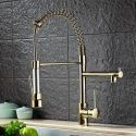 Commercial Tall Gold Kitchen Sink Faucet Tap Mixer Dual Spout Pull Down