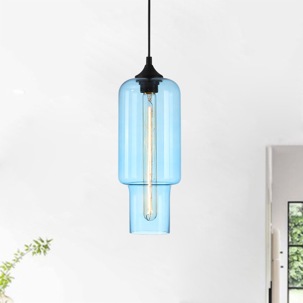 Modern Transparent Glass Pendant Light Hand Blown Colorful with 10