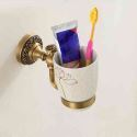 European Retro Style Bathroom Products Bathroom Accessories Copper Art Single Cup Toothbrush Cup Holder