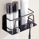 Black Toothbrush Holder Punch Free Installation Bath Shelf MHF08
