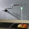 LED Pot Filler Faucet Faucet Chrome Swing-arm Wall Mount Kitchen Cold Tap