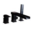 Solid Black Tub Faucet Deck-Mount Waterfall Bathtub Tap with Handshower