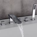 Contemporary Waterfall Tub Faucet Chrome Bathtub Tap with Handheld Shower