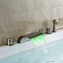 3 Handle LED Bath Tub Faucet with Sprayer Waterfall Bathtub Tap Mixer with Hand Shower