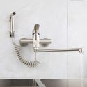 Kitchen Faucet Stainless Steel Brushed Rotatable Wall Mounted Tap with Bidet Spray Shower Head