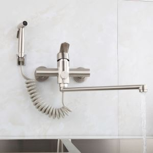 Stainless Steel Brushed Kitchen Faucet Rotatable Wall Mounted Tap with Bidet Spray Shower Head