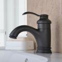 Antique Oil-rubbed Bronze Sink Faucet Black Single Handle Mixer Tap for Bathroom