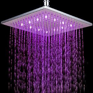 Contemporary 7 Colors Changing LED Chrome Shower Faucet Head of 10 inch