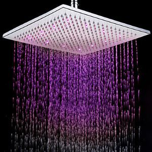 LED Lighted Shower Head Square 12 inch Stainless Steel