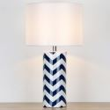 Contemporary Ceramic Table Lamp Blue And White Waves Counter Lamp Bedroom Living Room HY-030