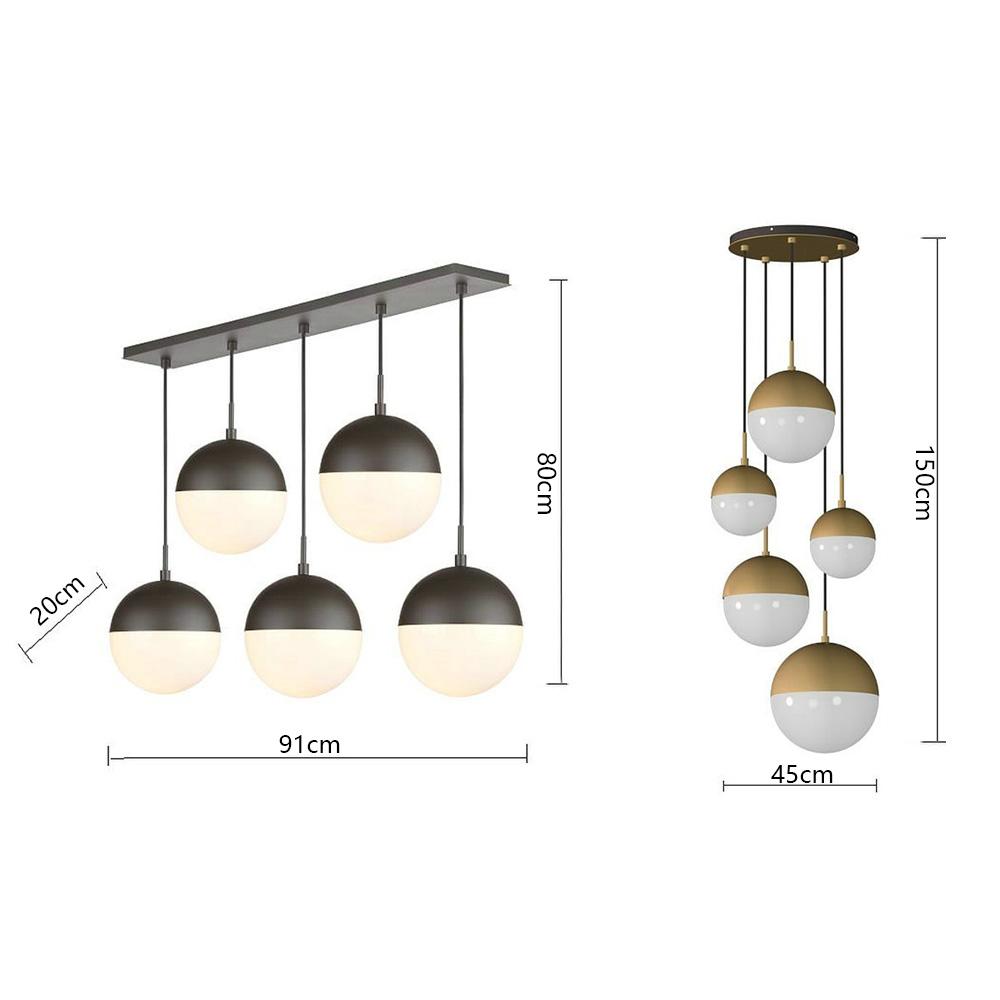 5 Light Glass Cluster Pendant Lamp Round Ball Pendant Light Living Room Dining Room Qm 99160 5