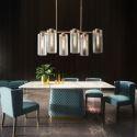 6 Lights Modern Glass Pendant Lamp Horizontal Pendant Light Living Room Office QM-99131-6