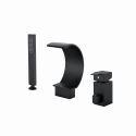 Black Brass Bathtub Faucet Curved Waterfall Spout Tap 3 Pieces/Set