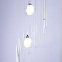 Modern Large LED Cluster Pendant Light Long Pendant Crystal Chandelier Duplex Staircase