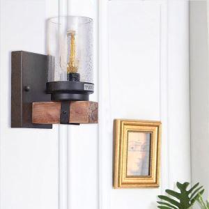 Retro Wood Wall Lamp Glass Lamp Shade Sconce Living Room Bedroom QM-4140B