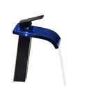 Glass LED Bathroom Sink Faucet Modern Waterfall  Vessel Sink Mixer Tap No Battery Needed