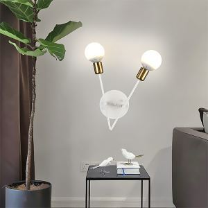 Modern Simple Iron Wall Lamp Lovely Double Light Sconce Bedroom Living Room QM-19006