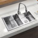 30 inch Double Bowl Stainless Steel Kitchen Sink with Drainer HM7843