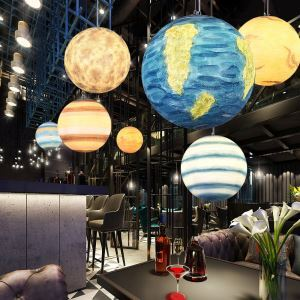Nordic Planet Design Pendant Lamp Unique Solar System Planets Chandelier Restaurant Kids Room