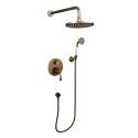 Traditional Antique Shower Faucet Durable Shower System with Wall Mount Rain Head