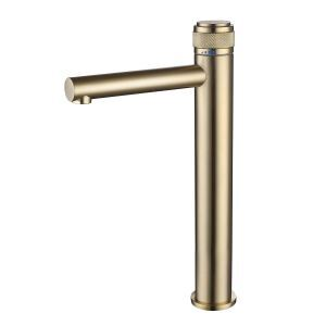 Brass Basin Faucet Creative Push Button Switch Design Bathroom Countertop Mixer Tap (Tall)