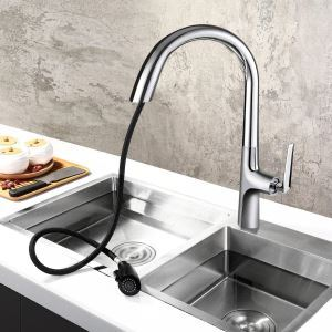 Curved Brass Pull-Out Kitchen Faucet Unique Hidden Pull-Out Function Tap Chrome/Black/Black+Gold