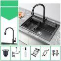 Thicken Stainless Steel Kitchen Sink Black Handmade Single Bowl Vegetable Washing Sink 6545