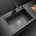 Black Nano Stainless Steel Sink 201 Handmade Single Bowl Thicken Sink