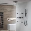 LED Black Shower Faucet System Brass Shower Faucet with 6 Massage Sprayer Heads