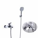 Chrome-Color Brass Bathtub Faucet Wall Mounted Tub Tap