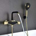 Wall Mounted Brass Bathtub Faucet 5 Colors Optional with Hand Held Shower Tap