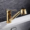 Pull-Out Brass Kitchen Faucet Kitchen Sink Mixer Tap Gold/Wood/Black Colors Optional