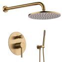 Shower Faucet Set Brushed Gold Concealed Mixer Tap Round Rainfall Shower Head and Sprayer Black/Gold