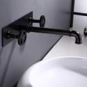 Black Wall Mounted Basin Tap Industrial Style Brass Centerset Faucet with Embedded Box