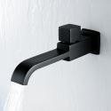 Waterfall Black Kitchen Faucet Wall Mounted Cold Water Tap (Upper Handle)