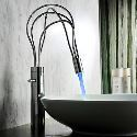 Contemporary Single Handle LED Bathroom Sink Faucet Chrome Mixer Tap(Tall)