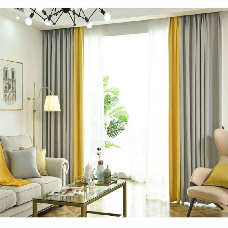 Double Colors Splicing Curtain Modern, Double Curtains For Living Room