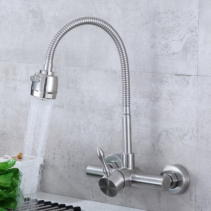 Wall Mount Stainless Steel Kitchen Faucet Sink Mixer Tap Brushed Nickel With Sprayer