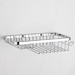 Contemporary Chrome Finish Wall-mounted Soap Basket With Hook